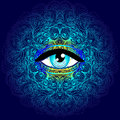 Sacred Geometry Symbol With All Seeing Eye In Acid Colors. Mysti Royalty Free Stock Photos - 93573248