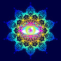 Sacred Geometry Symbol With All Seeing Eye In Acid Colors. Mysti Stock Photos - 93573273