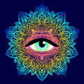Sacred Geometry Symbol With All Seeing Eye In Acid Colors. Mysti Royalty Free Stock Photo - 93573425