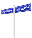 My Way Your Way Roadsign Stock Photo - 93579190