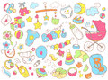Newborn Infant Themed Doodle Set. Baby Care, Feeding, Clothing, Royalty Free Stock Photography - 93596857