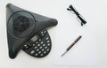 Isolated Top View Of Voip IP Conference Phone With Glasses And Pen Stock Photos - 93599043