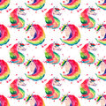 Bright Lovely Cute Fairy Magical Colorful Pattern Of Unicorns On Red Spray Background Watercolor Hand Illustration Stock Photography - 93603442
