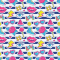 Vector Seamless Pattern With Stripes And Colorful Patches. Royalty Free Stock Photography - 93605947