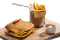 Cheeseburger And French Fries Royalty Free Stock Image - 93608676