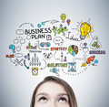 Blond Teen S Head And Business Plan Royalty Free Stock Image - 93622736