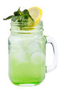 Fresh Refreshing Drink With Ice Cubes In Mason Jars With Lemon And Mint. Summer Drink On White Background. Royalty Free Stock Images - 93673439