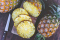 Pineapple Fruit On Wood Table , Fruit Summer Stock Image - 93683931
