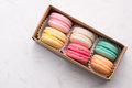 Sweet Macarons. Different French Cookies Macaroons In A Paper Bo Stock Image - 93686711