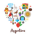 Flat Style Heart Shape Composition Of Argentina National Cultural Symbols. Stock Photography - 93696902