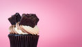 Chocolate Brownie Cupcake Muffin On Pink Royalty Free Stock Images - 93697779