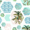 Abstract Summer Geometric Hexagon Shapes Seamless Pattern Royalty Free Stock Photography - 93715587