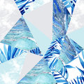Abstract Watercolor Triangle And Exotic Leaves Pattern. Stock Photography - 93715602