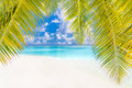 Beach Background. Beautiful Beach Landscape. Tropical Nature Scene. Palm Trees And Blue Sky. Summer Holiday And Vacation Concept. Royalty Free Stock Image - 93726316