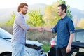 Two Man Finding  Friendly Agreement After A Car Accident Stock Image - 93737621