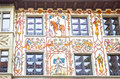 Beautiful Painted Facade With Window Shutters In The Old Town Of Lucerne, Switzerland Stock Images - 93738544