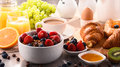 Breakfast Served With Coffee, Juice, Croissants And Fruits Stock Photos - 93742333