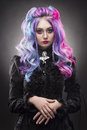 The Gothic Multi-colored Hair Girl On A Gray Background Stock Photo - 93746770