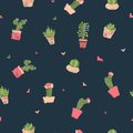 Embroidery Cactus Seamless Pattern Print. Cute Succulent Fashion Embroidery Fabric Design For Nursery Or Clothes In Royalty Free Stock Photography - 93756277