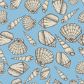 Seashell Collection Hand Drawn Aquatic Doodle Vector Illustration. Sketch Seamless Pattern. Royalty Free Stock Images - 93757019