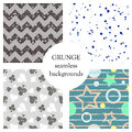 Set Of Seamless Vector Abstract Grunge Patterns, Different Backgrounds With Stars, Circle, Lines, Crancle, Icons Of Playings Cards Royalty Free Stock Photo - 93762815