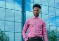 Young Businessman Wearing Pink Shirt Glass Office Building Background Royalty Free Stock Image - 93768066