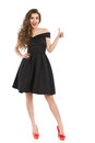 Elegant Excited Woman In Black Dress Gives Thumb Up Stock Photos - 93790043