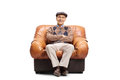 Elderly Man Sitting In A Leather Armchair Royalty Free Stock Photos - 93792918