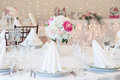 Restaurant Interior For Banquet, Wedding. Glass, Napkins And Cutlery.  Table Appointments, Laying Stock Photo - 93793210