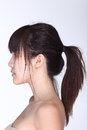 Rear Side View Of Asian Woman Black Hair, Studio Lighting White Stock Images - 93797574