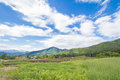 Beautiful Landscape Of Takayama Mura At Sunny Summer Or Spring Day And Blue Sky In Kamitakai District In Northeast Nagano Stock Image - 93800041