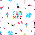 Summer Seamless Pattern With Pink Flamingos, Ice Cream, Strawberry Royalty Free Stock Photography - 93811977