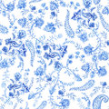 Blue And White Floral Wallpaper. Floral Seamless Pattern In Paisley Style. Decorative Botanical Backdrop. Light Blue Stock Image - 93816711