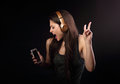 Beautiful Dancing Young Woman Listening The Music, Showing V Sig Stock Images - 93816844