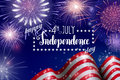 4th Of July, American Independence Day Celebration Background With Fire Fireworks. Congratulations On Fourth Of July. Stock Photos - 93851723