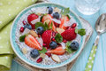 Keto Ketogenic, Paleo Low Carb Diet Not Oatmeal Breakfast Porridge. Coconut Chia Pudding With Berries, Pomegranate Seeds Royalty Free Stock Image - 93852196