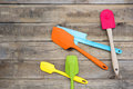 Bakery And Cooking Tools Silicone On Wood Table Stock Photo - 93857830