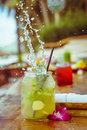 Close Up Of Glass With Tropical Refreshing Lemongrass Coctail With Mint, Ginger And Flower Decoration With Splashes On Stock Photography - 93869282