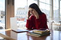 Young Female Upset Employee Having Headache Solving Problem Royalty Free Stock Image - 93871016