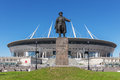 Monument To Kirov Before New Soccer `Saint-Petersburg Arena` In St. Petersburg Royalty Free Stock Photography - 93878677