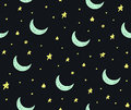 Cute Handdrawn Stars And Moon Seamless Vector Pattern Royalty Free Stock Photo - 93882695