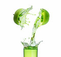 Green Apple Juice Splashing With Its Fruits Stock Images - 93890504