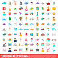 100 Big City Icons Set, Cartoon Style Stock Images - 93899324