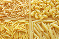 Four Different Kinds Of Italian Pasta Royalty Free Stock Photos - 9396098