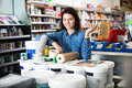 Woman In Paint Supplies Store Stock Images - 93906164