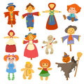 Different Dolls Toy Character Game Dress And Farm Scarecrow Rag-doll Vector Illustration Royalty Free Stock Photos - 93911188