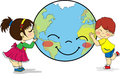 Kids Hugging And Kissing Smiling Planet Earth Stock Photo - 93924280