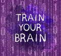 `Train Your Brain` Text On Purple Background With Numbers, VECTOR Hand Drawn Letters. Royalty Free Stock Images - 93945859