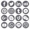 Collection Of Popular Grey Round Social Media Icons Royalty Free Stock Images - 93963879