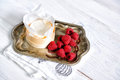 Mascarpone Cream Mousse Cake No Baked Cheesecake With Fresh Ra Stock Photo - 93976710
